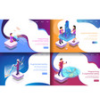set isometric virtual entertainment vector image