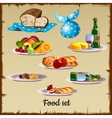 Set of food and waste vector image