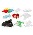set of plastic trash vector image