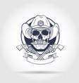sketch skull with cowboy vector image vector image