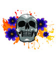skull and flowers day dead vintage vector image vector image