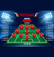 soccer starting lineup squad vector image
