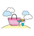 summer beach cartoon vector image vector image