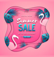 summer sale poster with tropic leaves vector image