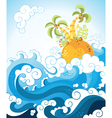 Tropical island in the ocean in decorative style