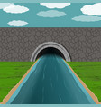 tunnel with river vector image vector image