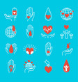 volunteer icons set vector image vector image
