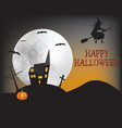 witch flying over the house vector image vector image