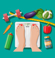 woman feet on bathroom scales vector image