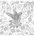 Zentangle stylized hummingbird in flower garden vector image vector image