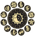 zodiac circle with sun moon and antique signs vector image vector image