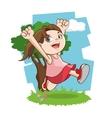 Happy cartoon girl colorful design vector image