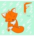 Alphabet letter F fox children vector image