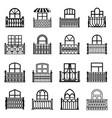 balcony window icons set simple style vector image