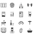 Black icons for the psychiatrist expert in vector image