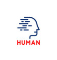 blue linear human logo isolated on white vector image vector image