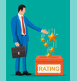 businessman and rating box vector image vector image