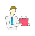businessman holding giftbox portrait view on white vector image