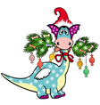 cartoon christmas dragon vector image vector image