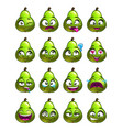cartoon pear character emotions set vector image