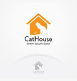 cat home logo design vector image vector image