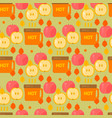 coffe and apples pattern vector image vector image