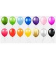colorful balloons collection isolated transparent vector image vector image