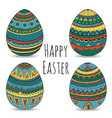 colorful happy easter eggs set collection vector image