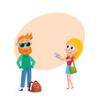 couple of tourists man and woman on tour making vector image vector image