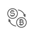 cryptocurrency exchange bitcoin coin with dollar vector image vector image