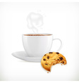 Cup of coffee and cookies isolated vector image vector image