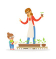 cute little girl helping her teacher to care for vector image vector image