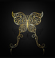 gold butterfly with swirl pattern vector image vector image
