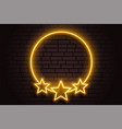 golden neon circle frame with stars background vector image