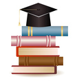 Graduation Cap on Book Stack vector image vector image