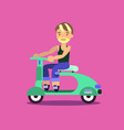 happy young man on a scooter vector image