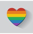 Heart-shaped icon with rainbow flag vector image