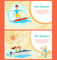 hot summer cards set framed vector image vector image