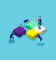 isometric team connecting puzzle elements concept vector image