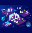 isometric vr experience composition vector image