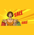 joyful woman shopping on sale vector image vector image