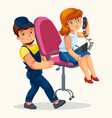 loader man carrying swivel chair flat poster vector image