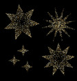 luxury golden stars on black gold glittering vector image