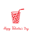 Martini glass with straw and hearts Valentines Day vector image vector image