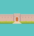 medieval castle town fortress wall cartoon vector image