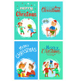 merry christmas holidays children having fun cards vector image vector image