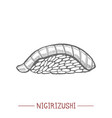 nigirizushi in hand drawn style vector image vector image