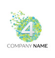 number four logo blue green yellow particles vector image vector image