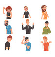 people with different expressions set male and vector image vector image