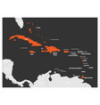 political map of carribean orange highlighted vector image vector image